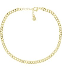 flat curb link anklet in gold plate