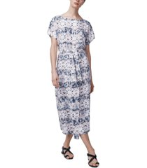 b new york printed tie-waist shift dress