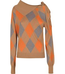 msgm cut-out shoulder check patterned sweater