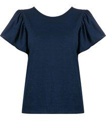 forte forte short bell sleeve top - blue