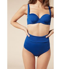 calzedonia indonesia fold over bikini bottoms woman blue size 4