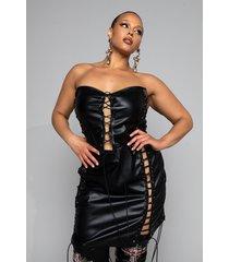 akira plus so i creep, faux leather lace up mini dress
