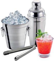 conjunto de inox para bar 3 peças coqueteleira balde e pegador de gelo