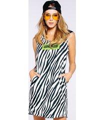 sukienka z kapturem zebra limon