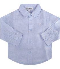 armani collezioni light blue babyboy skirt with white iconic eagle logo