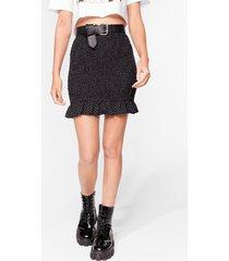 womens ain't dot time ruffle mini skirt - black