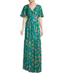maria floral sheer-hem maxi dress
