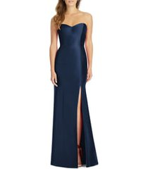 women's alfred sung strapless satin trumpet gown, size 0 - blue