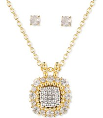 charter club two-tone crystal square pendant necklace & stud earrings set, created for macy's