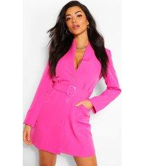 blazerjurk met riem en zakdetail, warm roze