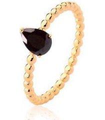 anel solitário gota zircônia negra banhado lys lazuli feminino - feminino