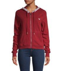 true religion women's logo-tape zip hoodie - red dahlia - size l