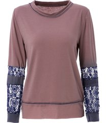 scoop neck long sleeve tie-dyeing t-shirt for women