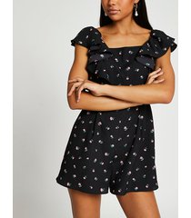 river island womens black open back floral playsuit