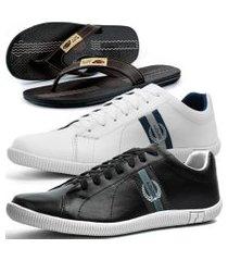 kit 2 pares de sapatênis casual dhl masculino branco e preto + chinelo conforto