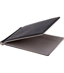 billetera clip hombre cuero sintetico - color negro gris