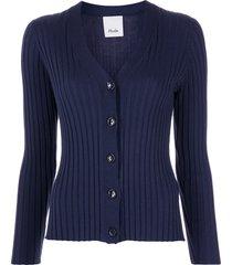 allude ribbed-knit v-neck cardigan - blue