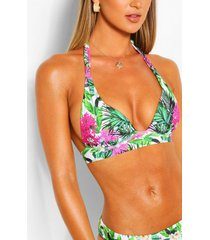 mix & match leaf plunge bikini top, pink