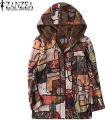 zanzea mujeres imprimió la vendimia floral de abrigo con capucha top coat jacket fleece -marrón