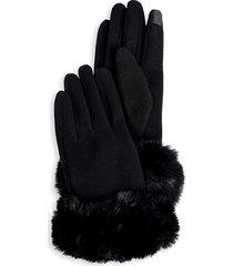marcus adler women's faux fur gloves - black