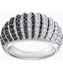 anello luxury domed, nero, placcatura rodio