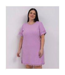 camisola de ribana com renda curve e plus size roxo