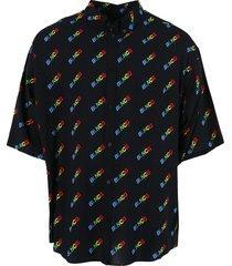 black multicolored logo short sleeve shirt