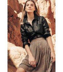 falda larga de tela para mujer plisada