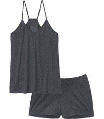 pyjamas med smala axelband och shorts