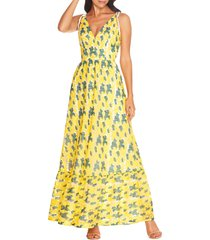 women's dress the population sunny embroidered floral tie shoulder gown