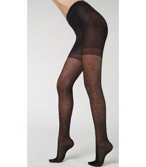 calzedonia polka dot total shaper tights woman black size xl