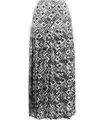 rixo tina square print skirt - white