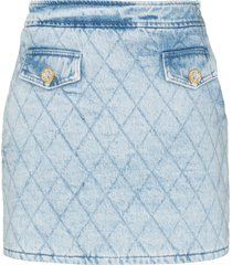 alessandra rich quilted denim mini skirt - blue