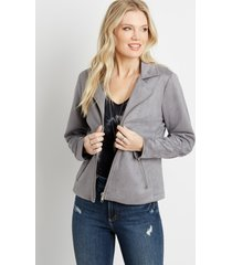 maurices womens gray faux suede moto jacket
