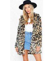 womens grrrl power faux fur leopard coat - brown