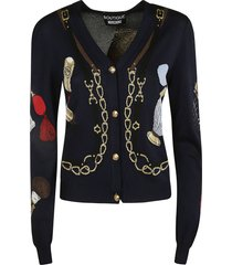 moschino slim fit embroidered cardigan