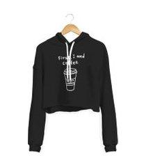 blusa cropped moletom moda top preto manga longa feminino blusáo basico iza tonelli coffee com capuz