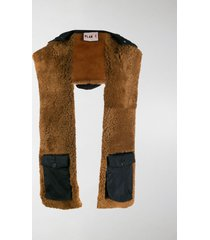 plan c hooded shearling scarf
