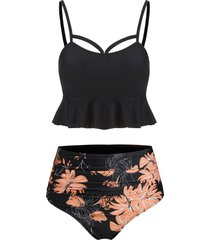 flounce lace-up ruched floral tankini swimsuit