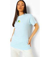 geborduurd citroen t-shirt, pale blue