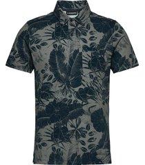 brand printed polo shirt polos short-sleeved blå j. lindeberg