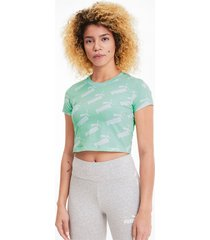amplified aop fitted t-shirt voor dames, groen, maat s | puma