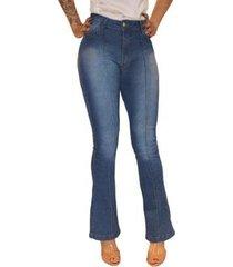 calça jeans flare sob delavê cintura alta feminina