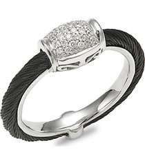 18k white gold, black stainless steel & diamond cable ring
