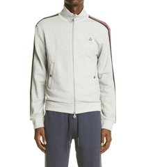 men's moncler side stripe zip cotton sweatshirt