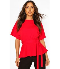 crepe kimono sleeve belted top, red