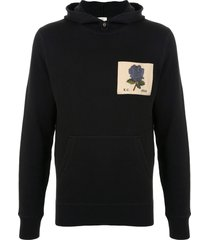 kent & curwen rose embroidered hoodie - black