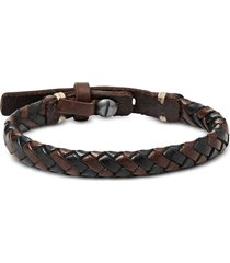 fossil designer men's bracelets, black and brown braided men's bracelet