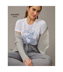 amaro feminino t-shirt manga dobrada equals change, branco