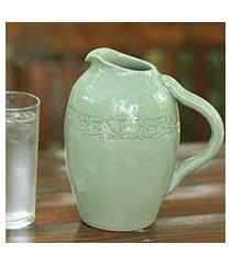celadon ceramic pitcher, 'ring' (thailand)